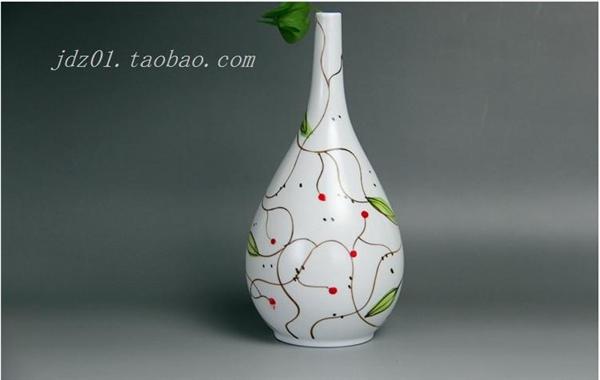 全手工制作花器花插 手绘花纹 家居陶瓷装饰小摆件花瓶