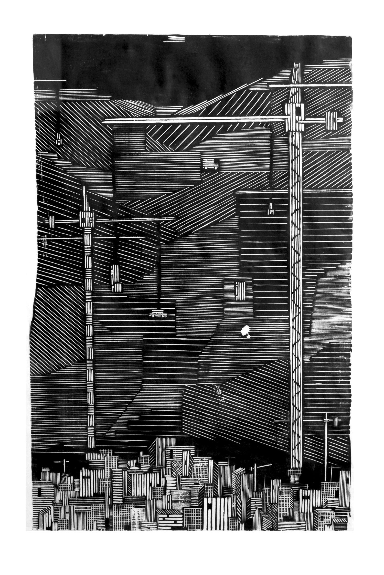 塔吊抽象手绘图